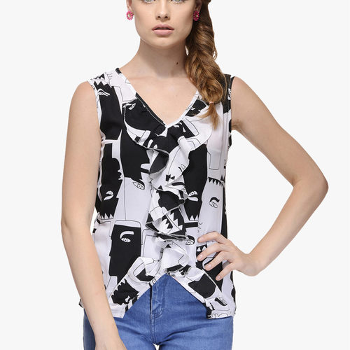 Human Face Printed Top