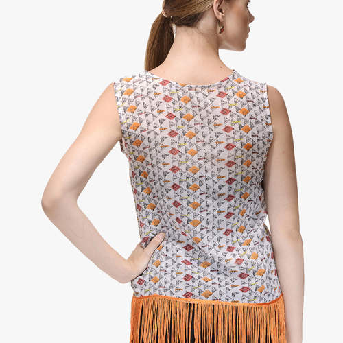 Daisy Orange Fringes Top