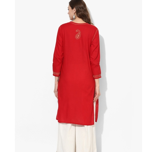Albely Red Embroidered Straight Kurta