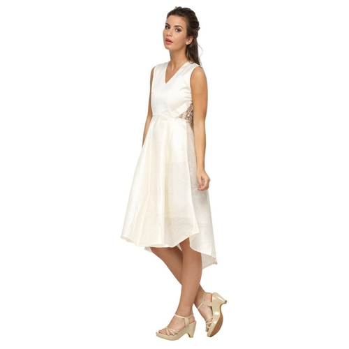 Laura Netted Back Pearl White Dress