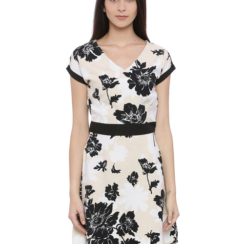 Floral Attack Women Shift Beige Dress