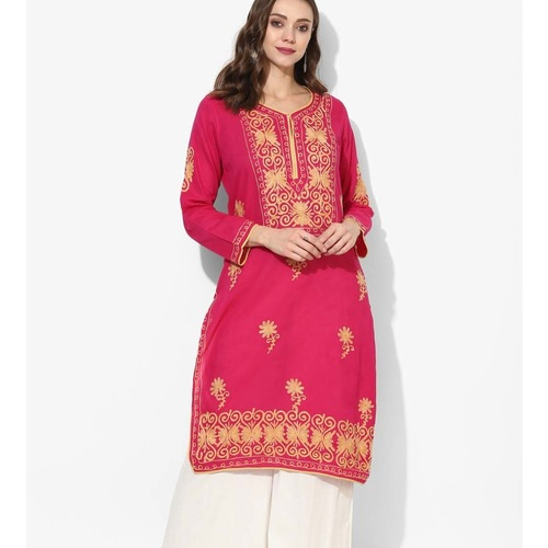 Albely Pink Embroidered Straight Kurta
