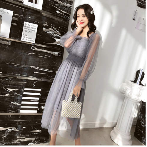 Grey Net Maxi Dress