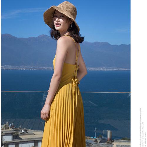 Long Yellow Halter Neck Maxi Dress