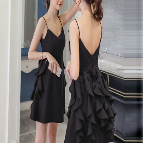 Party Wear Short Ruffle Black Dress