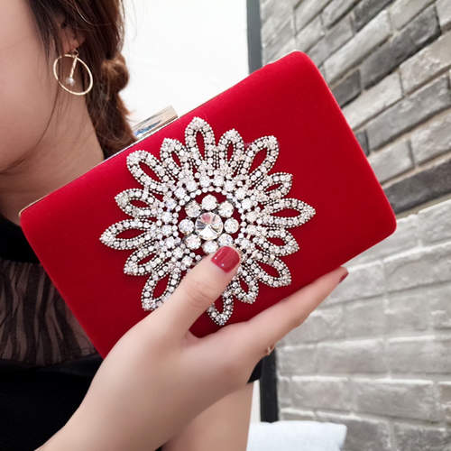 Velvet Diamond Flower Studded Clutch