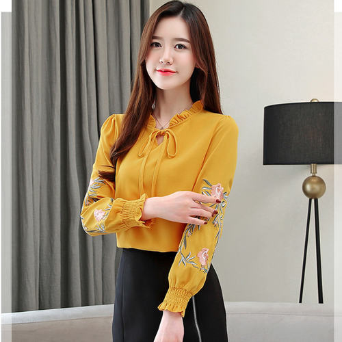 Mustard Embrodiery Long Sleeve Top