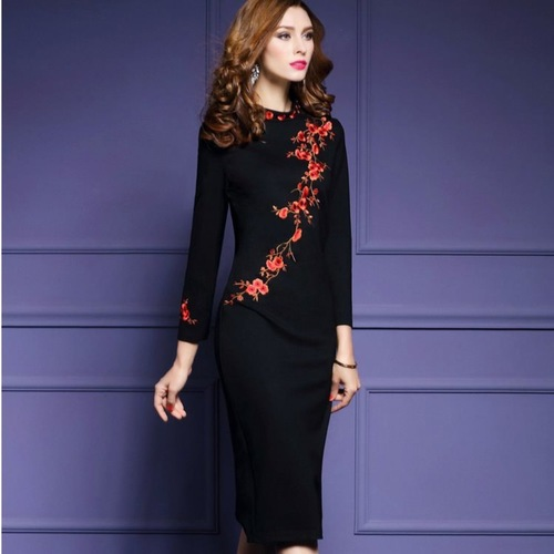 Long Sleeve Floral Embrodiery Autumn Dress