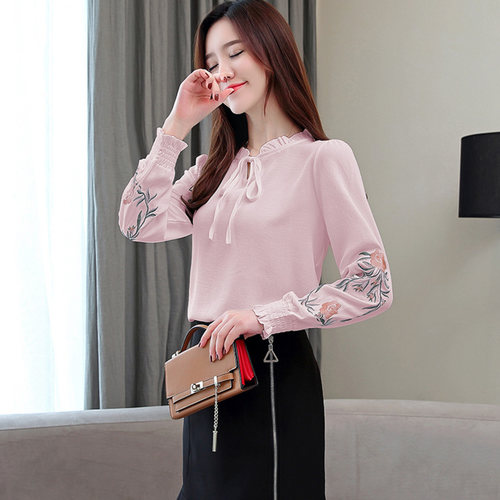 Pink Embrodiery Long Sleeve Top