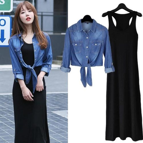 Maxi Dress With Denim Shirt