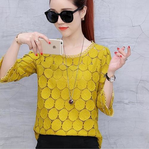 Mustard Party Wear Lace Top