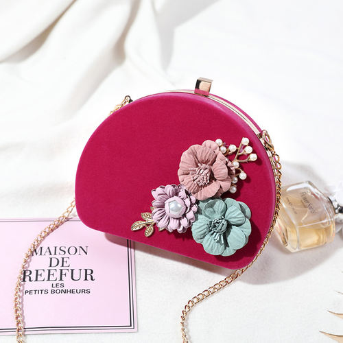 Oval Shape Floral Party Clutch