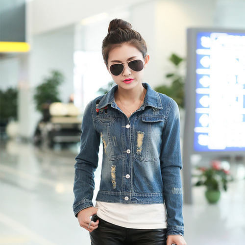 Embrodiery Pattern Short Denim Jacket