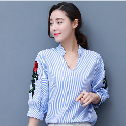 Stripe Embrodiery Patch Sleeve Top