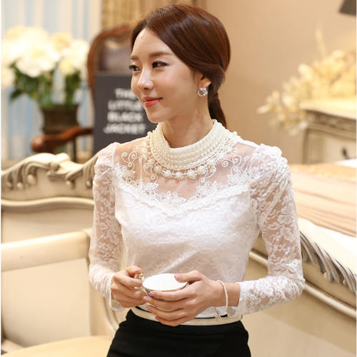 Pearl Neck Designer White Top