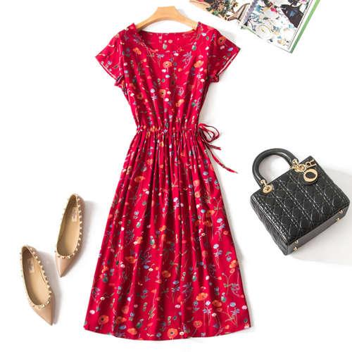 Floral Print Red Dress