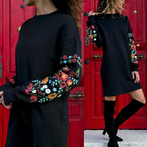 Long Sleeve Embrodiery Autumn Dress