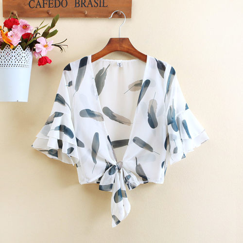 Feather Print Short Shrug
