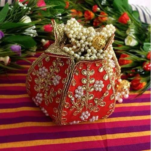 Lotus Shape Red Hand Embrodiery Potli Bag