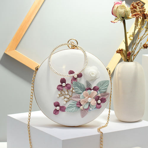 Round Shape Floral Party Clutch