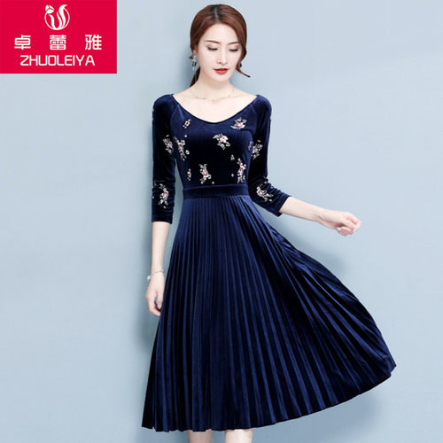 Velvet Embrodiery Winter Knee Length Dress