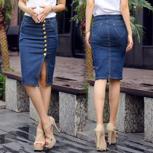 Buttoned Denim Knee Length Skirt