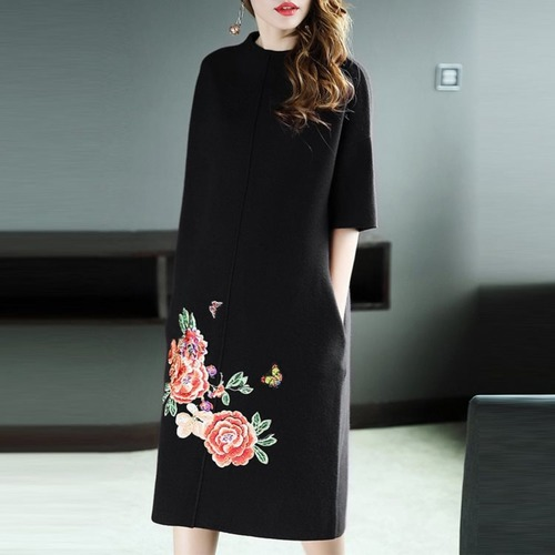 Embrodiery Autumn Winter Dress