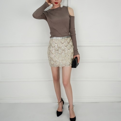 Sequin Work Beize Skirt