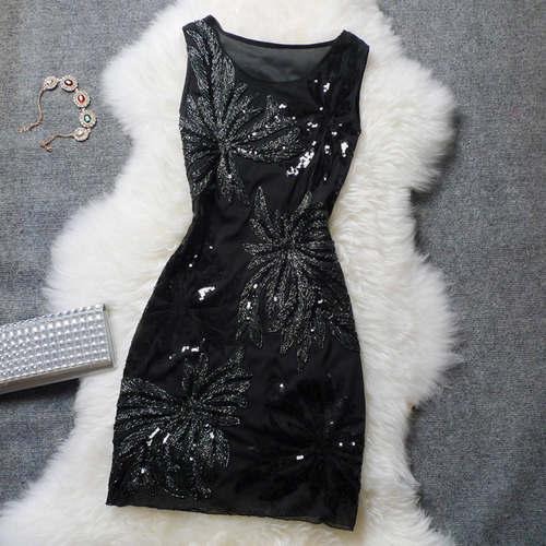 Black Sequin Work Floral Dress