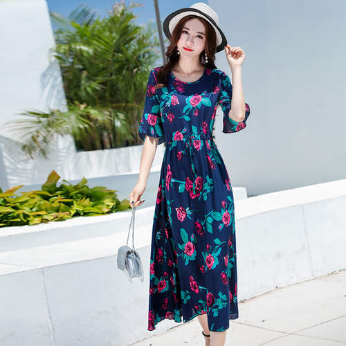 Navy Blue Rose Print Maxi Dress