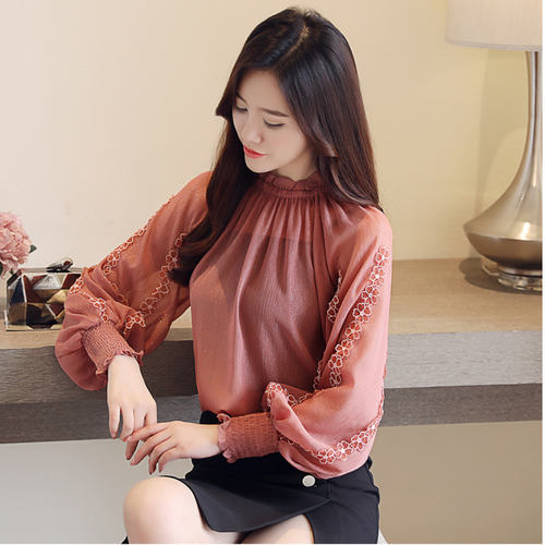 Balloon Sleeve Brown Top
