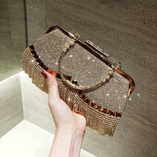 Rhinestone Studded Evening Bride Tassel Clutch
