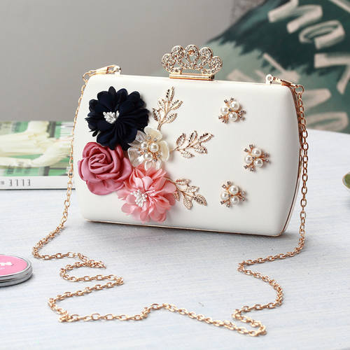 Floral Pearl Beaded Chain Clutch