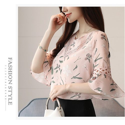 Floral Chiffon V-Neck Top