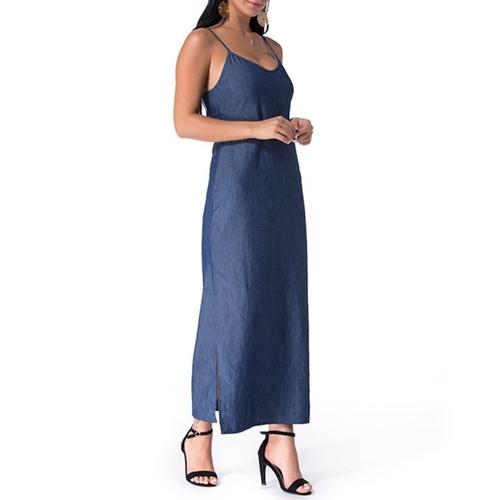 Denim Strappy Maxi Dress