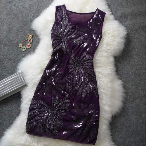 Purple Sequin Party Wear Floral Dress