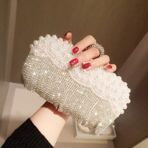 Pearl Embossed Rhinestone Studded Tassel Pattern Clutch Bag