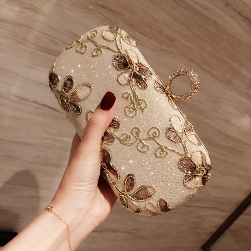 Embrodiered Diamond Studded Clutch Bag