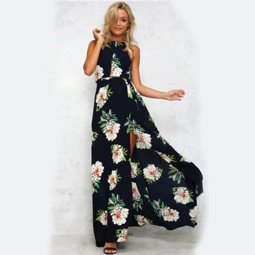 Front Open Floral Maxi Dress