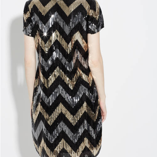 Zig Zag Golden Silver Sequin Party Wear Dress