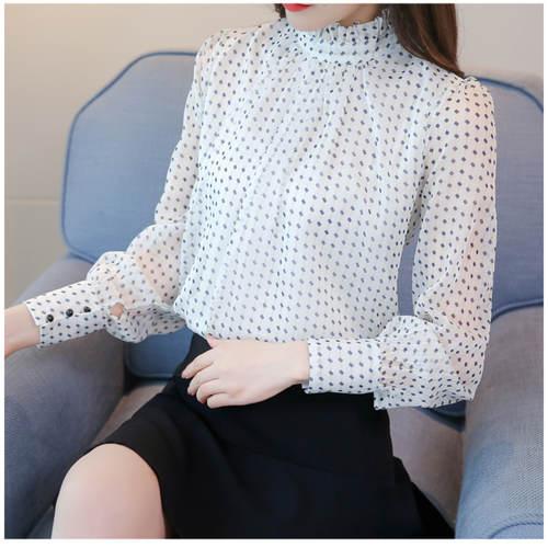 Polka Dot White Full Sleeve Top