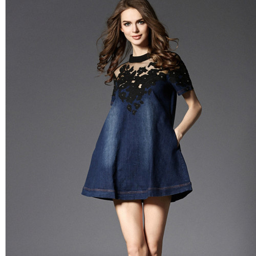 Denim Lace Work Dress