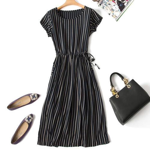 Striped Cotton Silk Dress