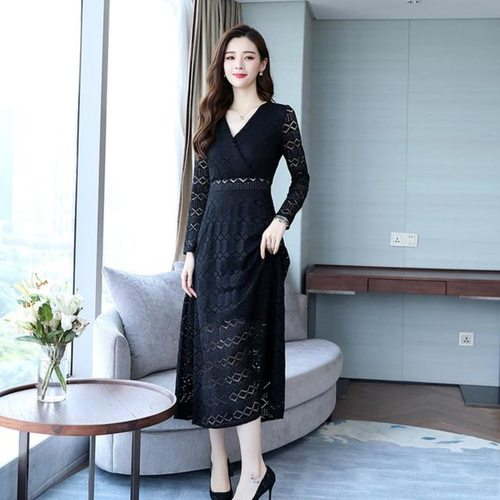 Party Wear Black Lace Dress