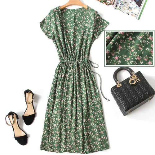 Floral Green Cotton Silk Dress