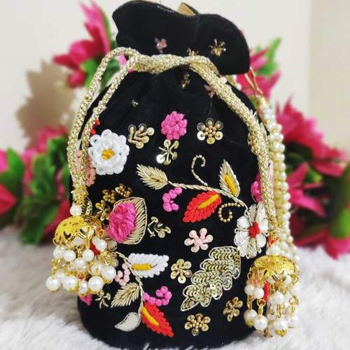Floral Embrodiery Handwork Potli Bag