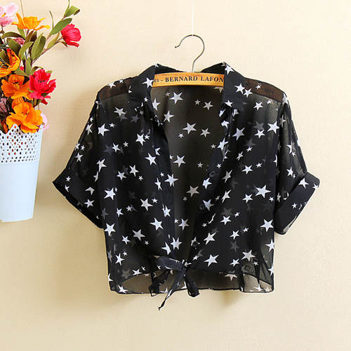 Star Printed Chiffon Short Shrug