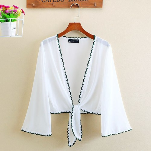Chiffon White Short Shrug