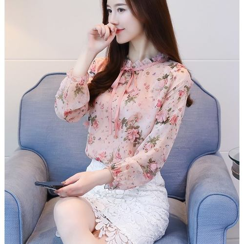 Floral Chiffon Bow Tie Knot Top