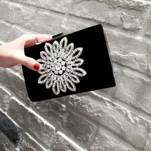 Velvet Diamond Flower Studded Clutch